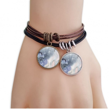 Abstract Shading Ink Watercolor Bracelet Double Leather Rope Wristband Couple Set