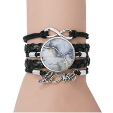 Ink Shading Watercolor Abstract Bracelet Love Black Twisted Leather Rope Wristband