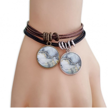 Ink Shading Watercolor Abstract Bracelet Double Leather Rope Wristband Couple Set