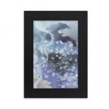 Abstract Ink Watercolor Shading Desktop Photo Frame Picture Black Art Painting 5x7 inch