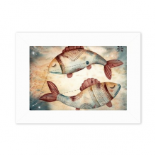 March Pisces Constellation Zodiac Desktop Photo Frame White Picture Art Painting 5x7 inch