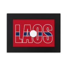 Laos Country Flag Name Desktop Photo Frame Black Picture Art Painting 5x7 inch