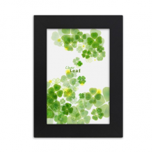 Four Leaf Clover Ireland St.Patrick's Day Desktop Photo Frame Picture Black Art Painting 5x7 inch