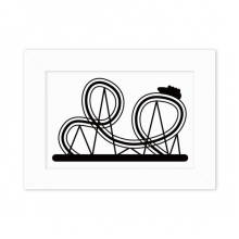 Black Roller Coaster Amusement Park Silhouette Desktop Photo Frame White Picture Art Painting 5x7 inch
