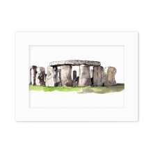 Stonehenge in  Wiltshire England Desktop Photo Frame White Picture Art Painting 5x7 inch