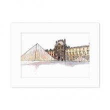 Louvre Museum in Paris France Desktop Photo Frame White Picture Art Painting 5x7 inch