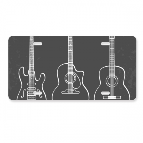 Guitar Music Instruments combination Guitar License Plate Decoration Stainless Automobile Steel Tag