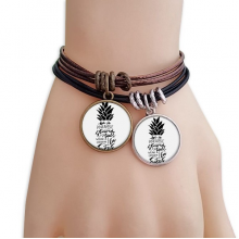 Be a Pineapple Stand Tall Sweet Quote Bracelet Double Leather Rope Wristband Couple Set Gift