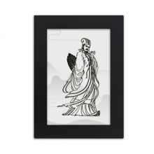 Dao Religion China Zhuge Liang Desktop Photo Frame Picture Black Art Painting 5x7 inch