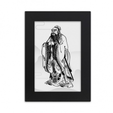 Dao Religion China Lao Tzu Desktop Photo Frame Picture Black Art Painting 5x7 inch