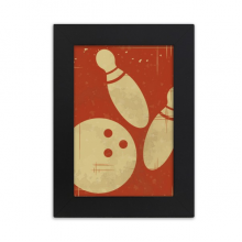 Bowling Sport Illustration Red Pattern Desktop Photo Frame Picture Black Art Painting 5x7 inch