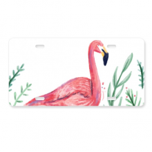 Tropical Flamingo Animal Plants License Plate Decoration Stainless Automobile Steel Tag