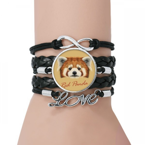 Chestnut Wild Red Panda Animal Bracelet Love Accessory Twisted Leather Knitting Rope Wristband