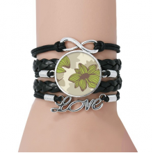 Brown Green Flower Plant Paint Bracelet Love Black Twisted Leather Rope Wristband