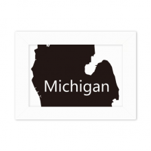 Michigan America USA Map Silhouette Desktop Photo Frame White Picture Art Painting 5x7 inch