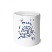 Line Drawing Pizza Italy Foods Money Box Saving Banks Ceramic Coin Case Kids Adults