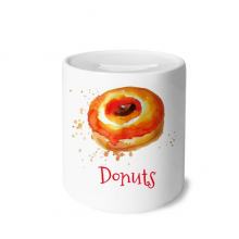 Watercolor Hand-painted Orange Doughnut Dessert Money Box Ceramic Coin Case Piggy Bank Gift