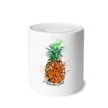 Orange Pineapple Tropical Fruit Money Box Ceramic Coin Case Piggy Bank Gift