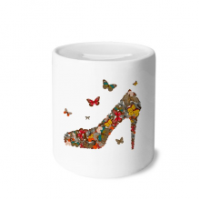 Butterfly and High Heel Shoes Money Box Saving Banks Ceramic Coin Case Kids Adults