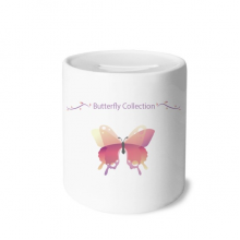 Pink Butterfly Collection Money Box Saving Banks Ceramic Coin Case Kids Adults