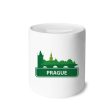 Prague Czech Republic Green Landmark Money Box Saving Banks Ceramic Coin Case Kids Adults