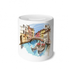 Italy Venice Landscape Watercolour Painting Money Box Saving Banks Ceramic Coin Case Kids Adults