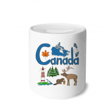 Canada National symbol Landmark  Pattern Money Box Saving Banks Ceramic Coin Case Kids Adults