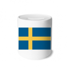 Sweden National Flag Europe Country Money Box Saving Banks Ceramic Coin Case Kids Adults