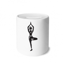 Yoga Girl Stand Keep Silhouette Money Box Saving Banks Ceramic Coin Case Kids Adults