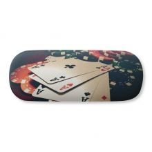 Card Poker Chips Gambling Photo Glasses Case Eyeglasses Hard Shell Storage Spectacle Box