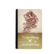 Chinese Dragon Animal Portrait Traveling quato Passport Holder Travel Wallet Cover Case Card Purse