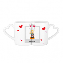 Pigtails Girl Netherlands Cartoon You&Me Mugs Set Love Couple White Cup Pottery Ceramic Handle