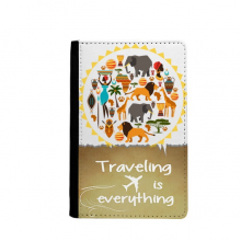 Africa Wild Animals Wildlife African Traveling quato Passport Holder Travel Wallet Cover Case Card Purse