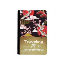Japan Cranes Fuji Sakura Cloud Sun Traveling quato Passport Holder Travel Wallet Cover Case Card Purse