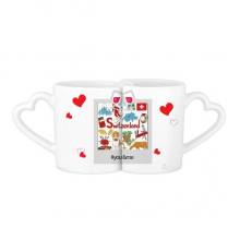 Switzerland Landscape National Flag You&Me Mugs Set Love Couple White Cup Pottery Ceramic Handle