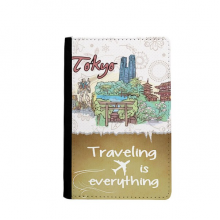 Hand-painted City Japan Yard Tokyo Traveling quato Passport Holder Travel Wallet Cover Case Card Purse
