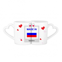 Made In Russia Country Love You&Me Mugs Set Love Couple White Cup Pottery Ceramic Handle