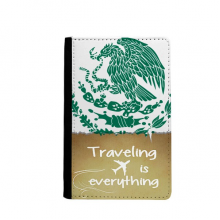 Mexico National Emblem Country Traveling quato Passport Holder Travel Wallet Cover Case Card Purse