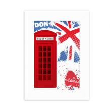 Britain UK London Flag Red Telephone Booth Desktop Photo Frame Picture White Art Painting 5x7 inch