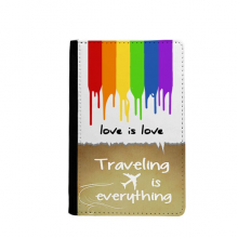 Love is Love LGBT Rainbow Color Traveling quato Passport Holder Travel Wallet Cover Case Card Purse