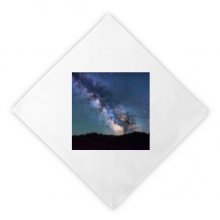 Blue Dark Stars Clouds Dinner Napkins Lunch White Reusable Cloth 2pcs