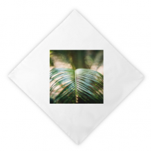 Green Leaf Plant Picture Nature Dinner Napkins Lunch White Reusable Cloth 2pcs