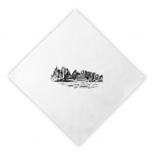 Australia Sydney Opera House Sketch Dinner Napkins Lunch White Reusable Cloth 2pcs