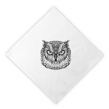 Big Eyes Owl Bird Animal Portrait Sketch Dinner Napkins Lunch White Reusable Cloth 2pcs