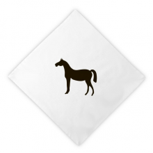 Black Horse Animal Portrayal Dinner Napkins Lunch White Reusable Cloth 2pcs