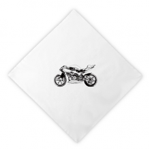 Black Motorcycle Illustration Pattern Dinner Napkins Lunch White Reusable Cloth 2pcs