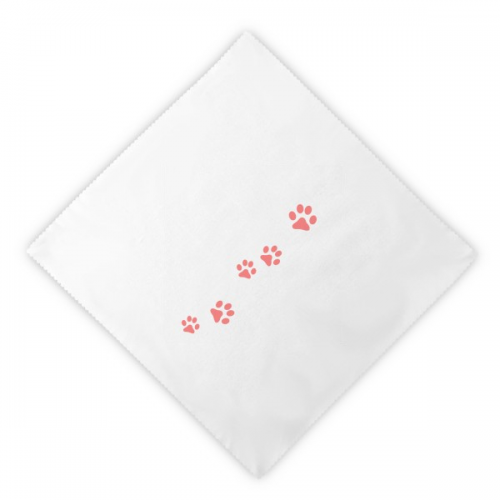 Cat Mewing Animal Pink Footprint Art Paw Print Dinner Napkins Lunch White Reusable Cloth 2pcs