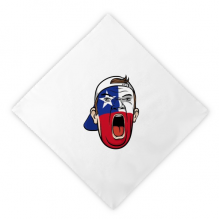 Chile Flag Facial Makeup Mask Screaming Cap Dinner Napkins Lunch White Reusable Cloth 2pcs