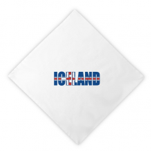 Iceland Country Flag Name Dinner Napkins Lunch White Reusable Cloth 2pcs