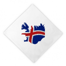 Map Iceland Abstract Flag Pattern Dinner Napkins Lunch White Reusable Cloth 2pcs